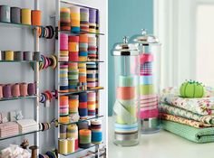 Craft Room // I like the straw dispenser as ribbon storage idea.