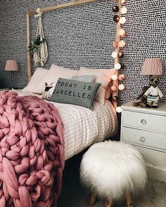 Ikea bed in girls bedroom with graham and brown spotted wallpaper # Dream Bedroom, Home Bedroom, Girls Bedroom, Bedrooms, Bedroom Decor, Spotted Wallpaper, Ikea Inspiration, Apartment Makeover, Ikea Bed