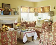 Garden Inspired Decorating nspired by daffodils in the garden, Von Kersting infused the living room walls with a buttery yellow hue. To match the paint's summery feel, Von Kersting chose a daring red floral upholstery fabric and accented the windows with bold stripes to tie the space together. To emphasize the sense of glamour, Von Kersting added luxurious accessories, such as leopard-print lampshades and gold silk pillows on the sofa.