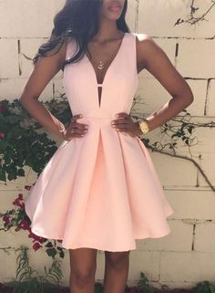 Simple Pink V Neck Short Prom Dress, Homecoming