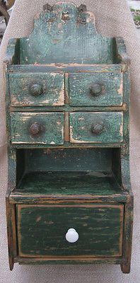 Antique Wooden Spice and Salt Box Cabinet Green Paint
