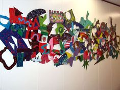 Frank Stella inspired sculpture. Did this with middle school students and was very successful.