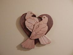 Lovebirds Wood Intarsia by FROGIntarsia on Etsy