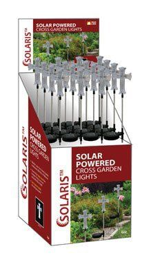 """Alpine Decorative Solar Lights Metal (16 Each) by ALPINE CORPORATION. $199.99. 1. ALPINE"""" SOLAR GARDEN STAKE *Cross *LED lit *Acrylic cross with metal stake *Charges during the day and illuminates at night *Ideal for garden landscapes, yards, porches, balconies, pathways, churches, cemeteries or memorial sites *Easy to install, no wiring required *Comes in 16 piece"""