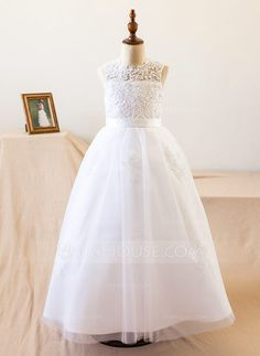 [US$ 57.99] A-Line/Princess Floor-length Flower Girl Dress - Satin/Tulle Sleeveless Scoop Neck With Beading/Appliques (010104984)