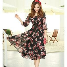 Women's Casual Micro-elastic ¾ Sleeve Midi Dress ( Chiffon ) – USD $ 34.99