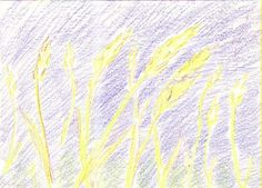 Field of Wheat. 10 minute drawing with Stockmar wax colors using only prime colors Crayon Drawings, Chalk Drawings, Preserving Food, Art World, Wax, Gardening, Colors, Cooking, Amazing