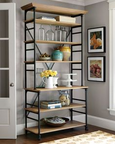 Baker's Rack, Love the height and all the shelves! I would like to put the dog bowls on the bottom shelf tp get them off the floor.