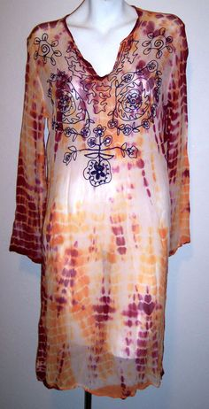 Hippie Top S / M Gauzy Embroidered Boho Coachella Festival Tunic Shirt or Dress #Unbranded #Tunic #Casual