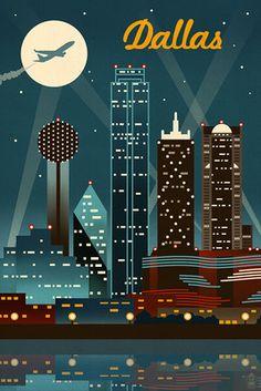 Dallas, Texas - Retro Skyline - Lantern Press Poster