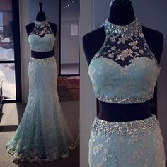 Prom Dresses Mermaid Long,Two Pieces Prom Dresses,Open Back Party Gowns,Long Evening Dresses Mermaid,Long Beaded Party Dresses,Prom Dresses 2016 Long,Light Blue Lace Prom Dresses,Lace Evening Dresses