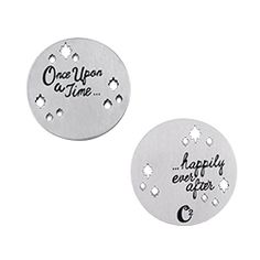 """Every story deserves a happy ending. Add the Medium Silver """"Once Upon A Time…Happily Ever After"""" Plate to your favorite Large or Medium Living Locket and add the Charms that truly depicts your fairy-tale story. With beautiful cut-out shapes and a double-sided design, don't forget to pair this with your favorite Chain and Dangles for a whimsical look. Origami Owl has done it again!"""