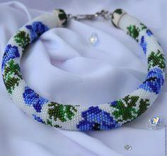 Купить Жгут бисерный Синие Цветы - жгут из бисера, бисерное украшение, бисерный жгут