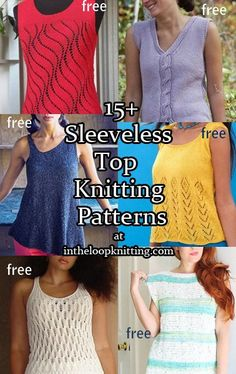 Knitting patterns for tanks, shells, and other sleeveless tops