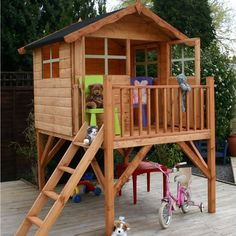 NEW CHILDRENS WOODEN PLAYHOUSE TIMBER TOWER PLAY HOUSE KIDS WENDYHOUSE