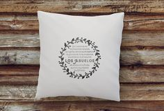 my own text printed on a quality cushion with wreath graphic decor; custom message cushion in high quality Hand printed custom cushions, unique and personal christmas gifts Birthday Quotes, Birthday Cards, Personalized Pillow Cases, Father Quotes, Pillow Quotes, Personalized Christmas Gifts, Grandma Gifts, Text You, Fabric Art
