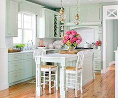 pretty mint green kitchen