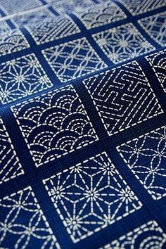 Sashiko.  Traditional Japanese fabric embroidery. Beautiful!
