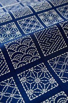 Sashiko.  Traditional Japanese fabric embroidery. Beautiful!