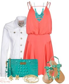 Cute Teal and Coral Outfit - www.powercouplelife.com