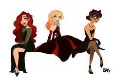 (Gotham City Sirens) Poison Ivy, Harley Quinn and Catwoman Catwoman, Batgirl, Digimon, Oblyvian Girls, Harey Quinn, Character Art, Character Design, Gotham Girls, Gotham Batman