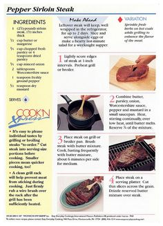 Meat - Pepper Sirloin Steak Misc B Sirloin Steak Salad Recipe, Sirloin Steaks, Easy Everyday Cooking Recipe Cards, Steak Casserole, Leftover Steak, Cooking The Perfect Steak, Steak Butter, Bodybuilding Recipes, How To Cook Steak