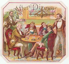 After Dinner Original Vintage 1890's Outer Cigar Box Label O.L. Schwencke N. Y.