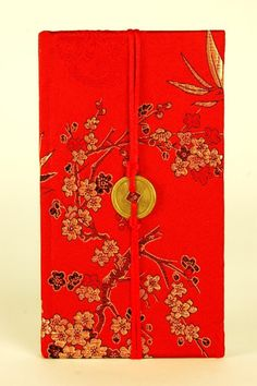 """SILK PAPER JOURNAL Red Cherry Blossom Bamboo Blank Notebook Asian Diary 7x4"""""""