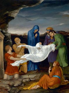 The Fourteen Stations Of The Cross painted by Leonard Porter. Station 14- The body of Jesus is buried.