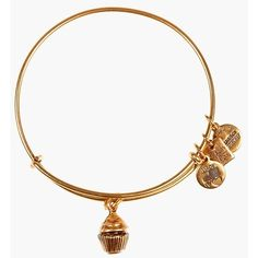 Alex and Ani 'Cupcake' Expandable Wire Bangle ($28) ❤ liked on Polyvore featuring jewelry, bracelets, rafaelian gold, wire bangle bracelet, expandable bangle, expandable charm bangle, pendant charms and charm pendant