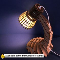 Cardboard/Wood Desk Lamp