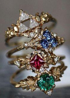 Zelda themed rings by 'Third Coast Gems' – ruby jewelry Bijoux Harry Potter, Zelda Ring, Harry Potter Accesorios, Ruby Jewelry, Women's Jewelry, Jewellery, Fashion Jewelry, Jewelry Accessories, Jewelry Design