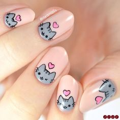 Happy Valentines Day from me and Pusheen! 💕 I loved my Rilakkuma nails so much that I wanted to do a second version featuring for… Cat Nail Art, Animal Nail Art, Pink Nail Art, Cat Nails, Cute Acrylic Nails, Gold Tip Nails, Disney Acrylic Nails, Bunny Nails, Chrome Nails