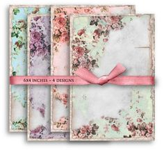 Digital Collage Sheet Download - Shabby Chic Floral Backgrounds -  1104  - Digital Paper