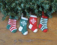 Christmas cheery-ness!  Hand-knit set of 4 Snowflake & Stripes Christmas Stocking Ornaments