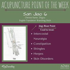 #TipTuesday:#Acupuncture Point of the Week, San Jiao 6! #integrativelife