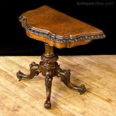 Victorian Walnut Card Table - Antiques Atlas