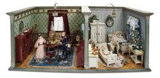 Home At Last - Antique Doll and Dollhouses: 237 Wonderful German Wooden Furnished Dollhouse Rooms by Moritz Gottschalk