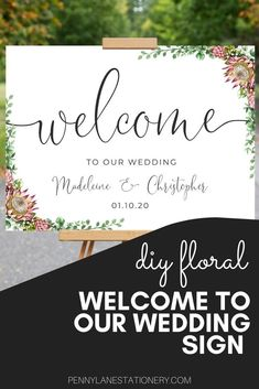 The Protea floral theme is a gorgeous look for your boho wedding. And this easy customizable diy welcome to our wedding sign will impress your guests. They'll never guess it's a budget friendly printable. Get beautiful entrance signage for your wedding (plus many more signs in this lovely theme. Entrance Signage, Reception Entrance, Entrance Decor, Australian Native Flowers, Bohemian Wedding Decorations, When You Are Happy, Cursive Fonts, Welcome To Our Wedding, Penny Lane