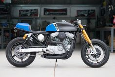 Mack: A bruising, cafe-themed Sportster from DP Customs.