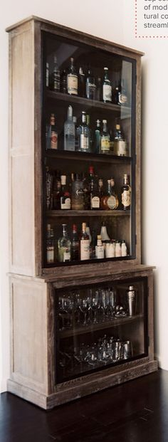 bar liquor cabinet: now that's a lot of booze Garage, ideas, man cave, workshop, organization, organize, home, house, indoor, storage, woodwork, design, tool, mechanic, auto, shelving, car.