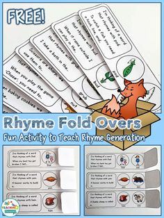Rhyme Fold Overs Free Sample by teachingtalking.com - repinned by @PediaStaff – Please Visit ht.ly/63sNtfor all our pediatric therapy pins