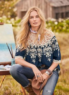Holland Top - boho top with an embroidered bodice and lace at yoke. Fashion Wear, Boho Fashion, Womens Fashion, Cool Style, My Style, Fashion Tips For Women, Hippie Chic, Boho Tops, Floral Tops