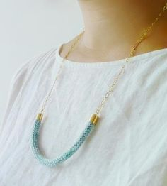 Sky Blue Knit Necklace | Jewelry Necklaces | Percolating Design | Scoutmob Shoppe | Product Detail