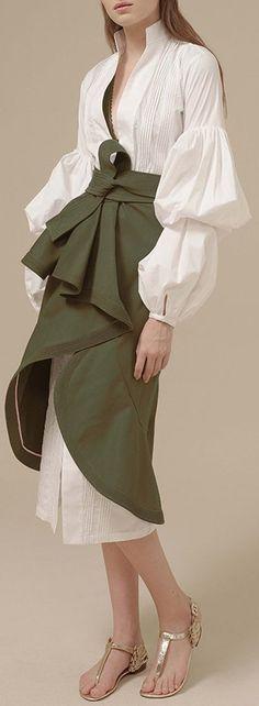 Palomino Puff Sleeve Shirt Dress & Cienaga Wrap Skirt - Another! Fashion Week Paris, Fashion Weeks, High Fashion, Haute Couture Style, Fashion Details, Fashion Tips, Fashion Design, Fashion Trends, Women's Fashion