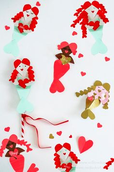 Getting Valentine's Day Ready with Red Ted Art. A cute Heart Mermaid Valentine's Day Craft - Adorable Heart Valentine's Ideas. Paper Mermaid Crafts for Valentine's. How to make a Mermaid Valentines Card Mermaid Crafts, Mermaid Diy, Mermaid Style, Unicorn Valentine, Valentine Day Crafts, Funny Valentine, Paper Crafts For Kids, Easy Crafts For Kids, Kid Crafts
