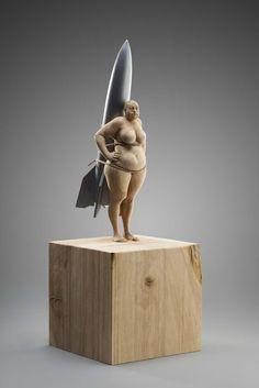 Matthias Verginer, Apollo 13, apple tree wood and acrylic, 47 x 17 x 17 cm #contemporary #art #wooden #sculpture