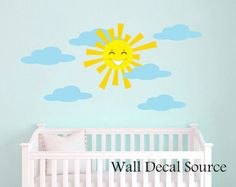 Smiling Sun Wall Decal - Cloudy Wall Decal - Sunshine Decal