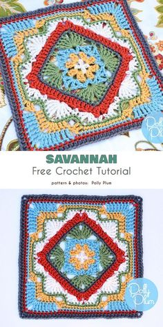 Square in a Square Free Crochet Patterns Savannah Afghan Block Free Crochet Pattern. A square with a layout consisting of the main square and central square (or diamond) motif. Crochet Mandala Pattern, Crochet Motifs, Crochet Blocks, Granny Square Crochet Pattern, Afghan Crochet Patterns, Crochet Stitches, Free Crochet, Crochet Squares Afghan, Ripple Afghan
