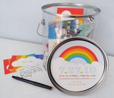 Custom Time Capsule, baby birthday keepsake, wedding time capsule, personalized gift, wedding keepsake, paint bucket, birds, rainbows